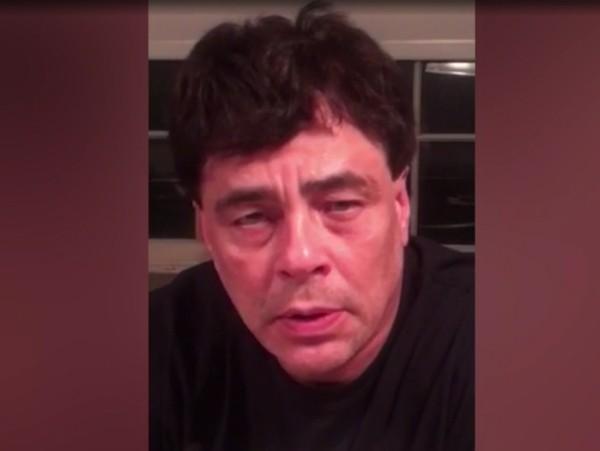 O ator Benicio Del Toro no vídeo no qual pede ajuda para a população de Porto Rico (Foto: Reprodução)