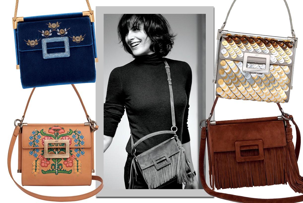 Papisa do chique parisiense, Inès de la Fressange lança uma coleção de bolsas para a Roger Vivier inspirada em suas viagens pelo mundo (Foto: Getty Images, Thinkstock e Cortesia Roger Vivier)