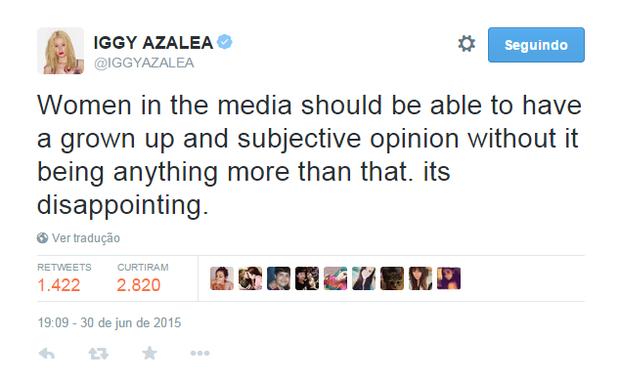 Iggy Azalea em post no Twitter (Foto: Reprodução)