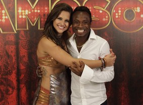 Edílson e Lidiane Rodrigues (Foto: Domingão do Faustão / TV Globo)