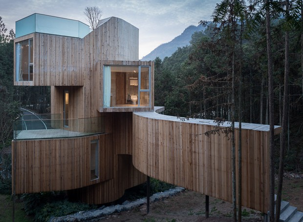 hotel-casa-na-arvore-montanhas-qiyunshan-bengo-studio-china (Foto: Chen Hao/Divulgação)