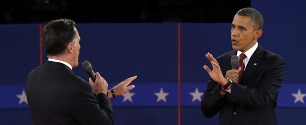 O republicano Mitt Romney e o democrata Barack Obama discutem sobre a questão energética no debate desta terça-feira (16) (Foto: AP)
