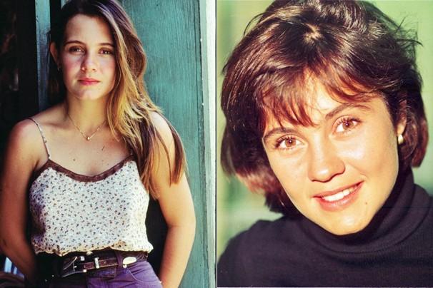 Adriana Esteves como Marina de Pedra sobre Pedra (1992) e no papel de Mariana em Renascer (1993) (Foto: CEDOC Globo)