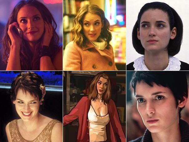 Winona Ryder em: 'Homefront'; 'The Darwin Awards'; 'Minha Mãe é uma Sereia'; 'Outono em Nova York'; 'O Homem Duplo' e 'Alien - A Ressurreição' (Foto: Divulgação / Reprodução)