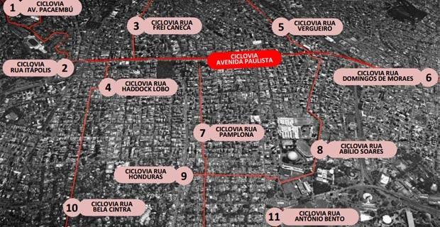 Mapa geral das ciclovias na região da Avenida Paulista (Foto: Reprodução/CET)