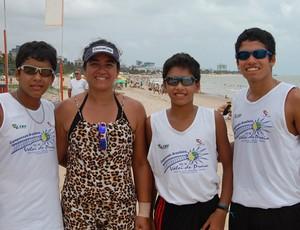 Renan e os gêmeos Renato e Rafael, vôlei de praia João Pessoa (Foto: Larissa Keren)