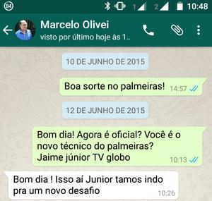 Marcelo Oliveira no Whatsapp (Foto: Reprodução)