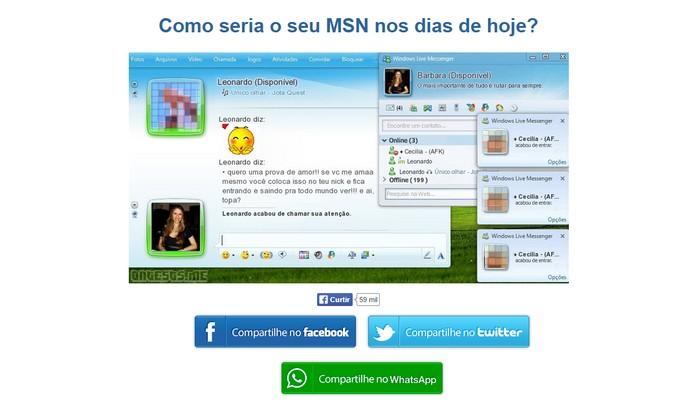 Visual mostra nickname, mensagem de um dos contatos do Facebook e mais detalhes divertidos do suposto MSN (Foto: Reprodu