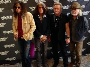 Músicos do Aerosmith em entrevista coletiva no hotel Copacabana Palace, no Rio, nesta quinta (17) (Foto: G1)