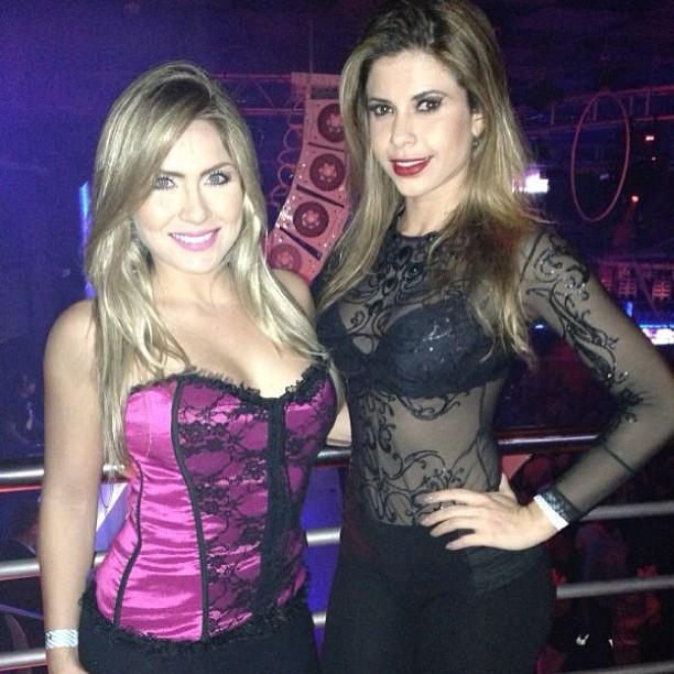 Ex-BBBs Renatinha e Cacau em boate em Campinas, São Paulo (Foto: Instagram/ Reprodução)