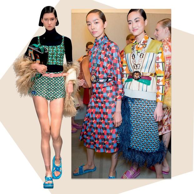 Prada: Como filme Past Forward ao fundo, Miuccia Prada flertou como activewear e o glamour de outros tempos – vide os toques de plumas (Foto: Getty Images e Imaxtree)