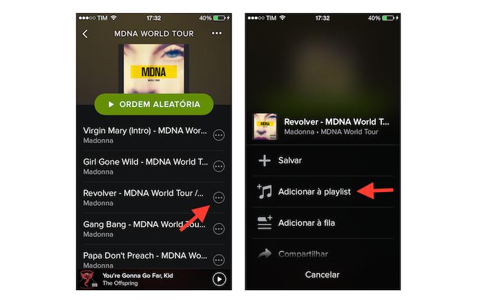 Adicionando uma música a uma playlist no Spotify do celular (Foto: Reprodução/Marvin Costa)