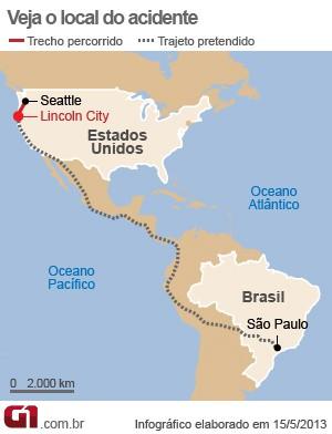 mapa americano atropelado copa (Foto: Arte/G1)