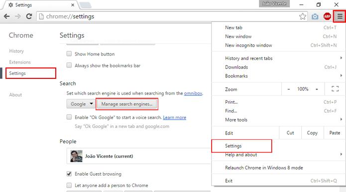 Definições podem ser acessadas através do menu de opções (Foto: Reprodução/Chrome)
