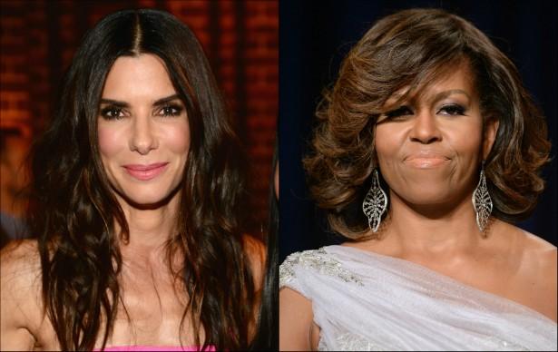 Sandra Bullock e a primeira-dama dos EUA, Michelle Obama, nasceram em 1964. (Foto: Getty Images)
