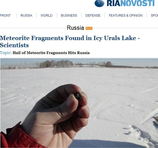 Fragmento rochoso analisado por cientistas é parte de meteorito que caiu em região da Rússia na última sexta-feira (Foto: Reprodução)