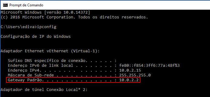 Visualizando o gateway padrão no Prompt de Comando do Windows 10 (Foto: Reprodução/Edivaldo Brito)