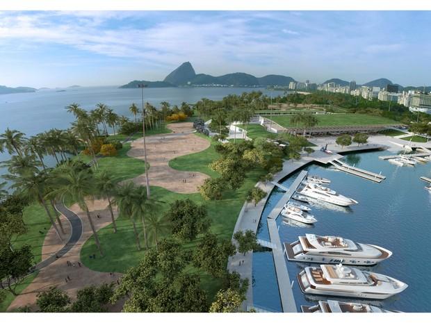 Projeto da Marina da Glória simula local após mudanças (Foto: BR Marinas/Divulgação)