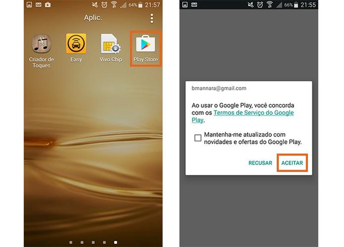Acesse a Play Store pelo celular Android depois de recuperar o app (Foto: Reprodução/Barbara Mannara)