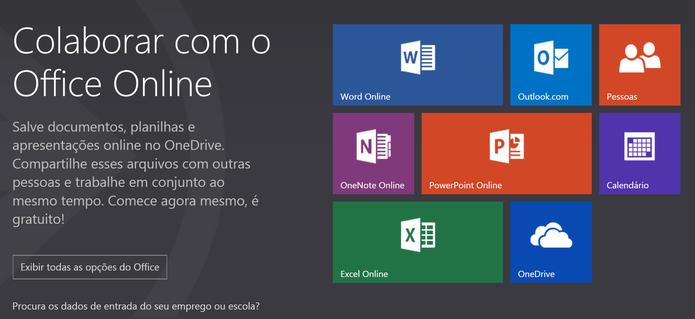 Office Online traz versões para navegador do Word, PowerPoint, Excel e OneNote (Foto: Reprodução/Microsoft)