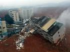 Vídeo mostra edifícios 'engolidos' por deslizamento de detritos na China