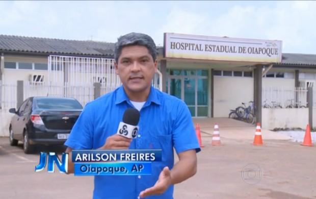 Repórter Arilson Freire conversou transmitiu informações direto de Oiapoque (Foto: Reprodução/Jornal Nacional)