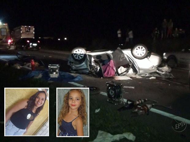 Cinco pessoas morreram em acidente na Fernão Dias, entre elas mãe e a filha de 7 anos (Foto: Reprodução EPTV)