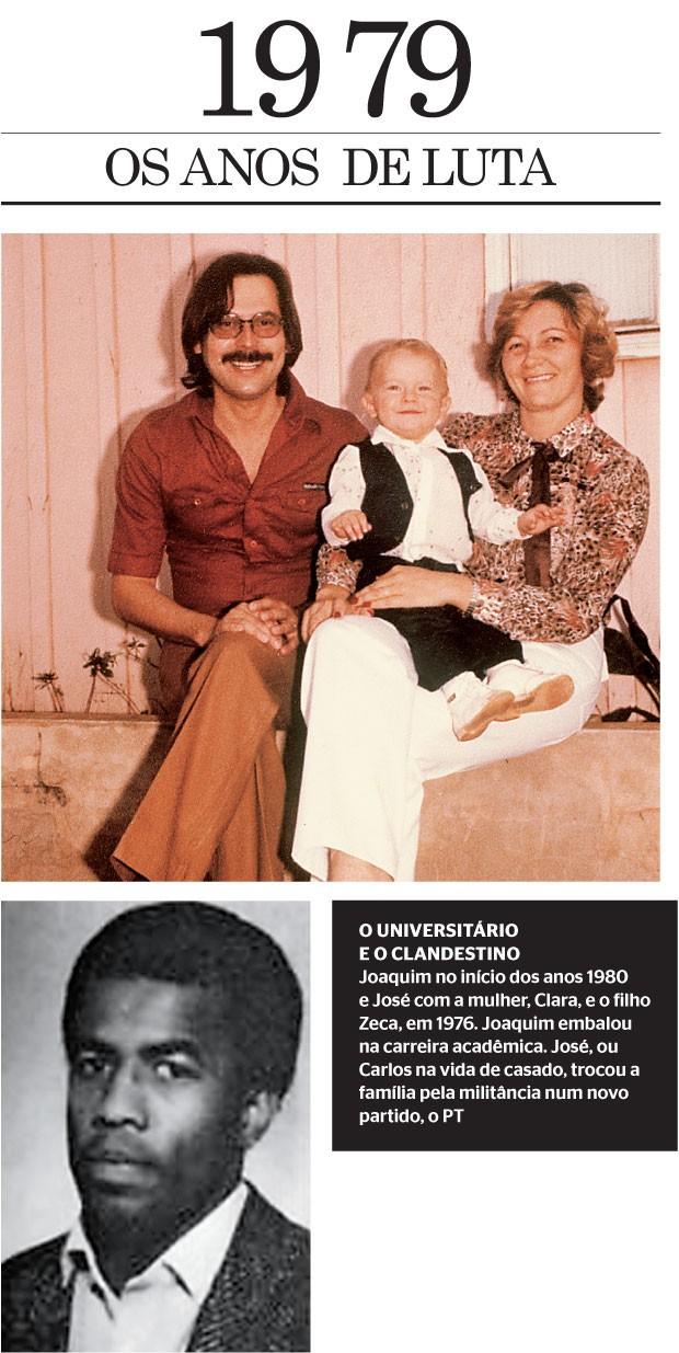 O UNIVERSITÁRIO E O CLANDESTINO Joaquim no início dos anos 1980 e José com a mulher, Clara, e o filho Zeca, em 1976. Joaquim embalou na carreira acadêmica. José, ou Carlos na vida de casado, trocou a família pela militância num novo partido, o PT  (Foto: reprodução)