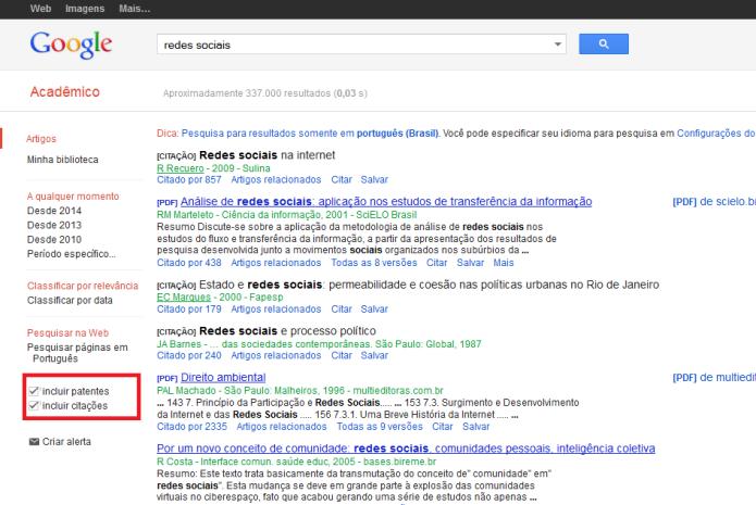 Resultados incluindo patentes e citações no Google Acadêmico (Foto: Reprodução/Lívia Dâmaso)
