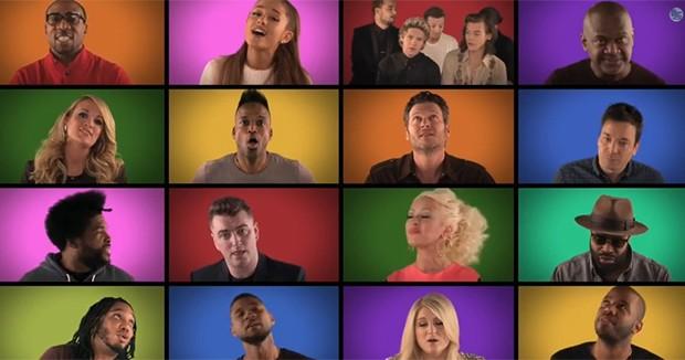 Artistas cantam 'We are the champions' em programa de TV americano (Foto: Reprodução/YouTube/Jimmy Fallon)