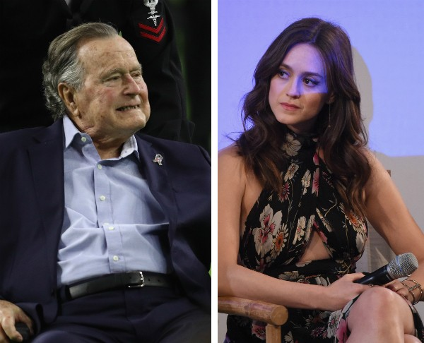 O ex-presidente dos EUA George H.W. Bush e a atriz Heather Lind (Foto: Getty Images)