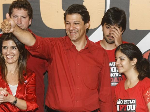 Fernando Haddad (PT) comemora eleição em São Paulo (Foto: Vagner Campos/G1)