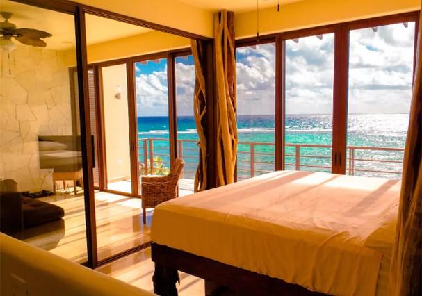 Apartamento com vista para o mar em Tulum, no México, é uma boa. (Foto: Divulgação)