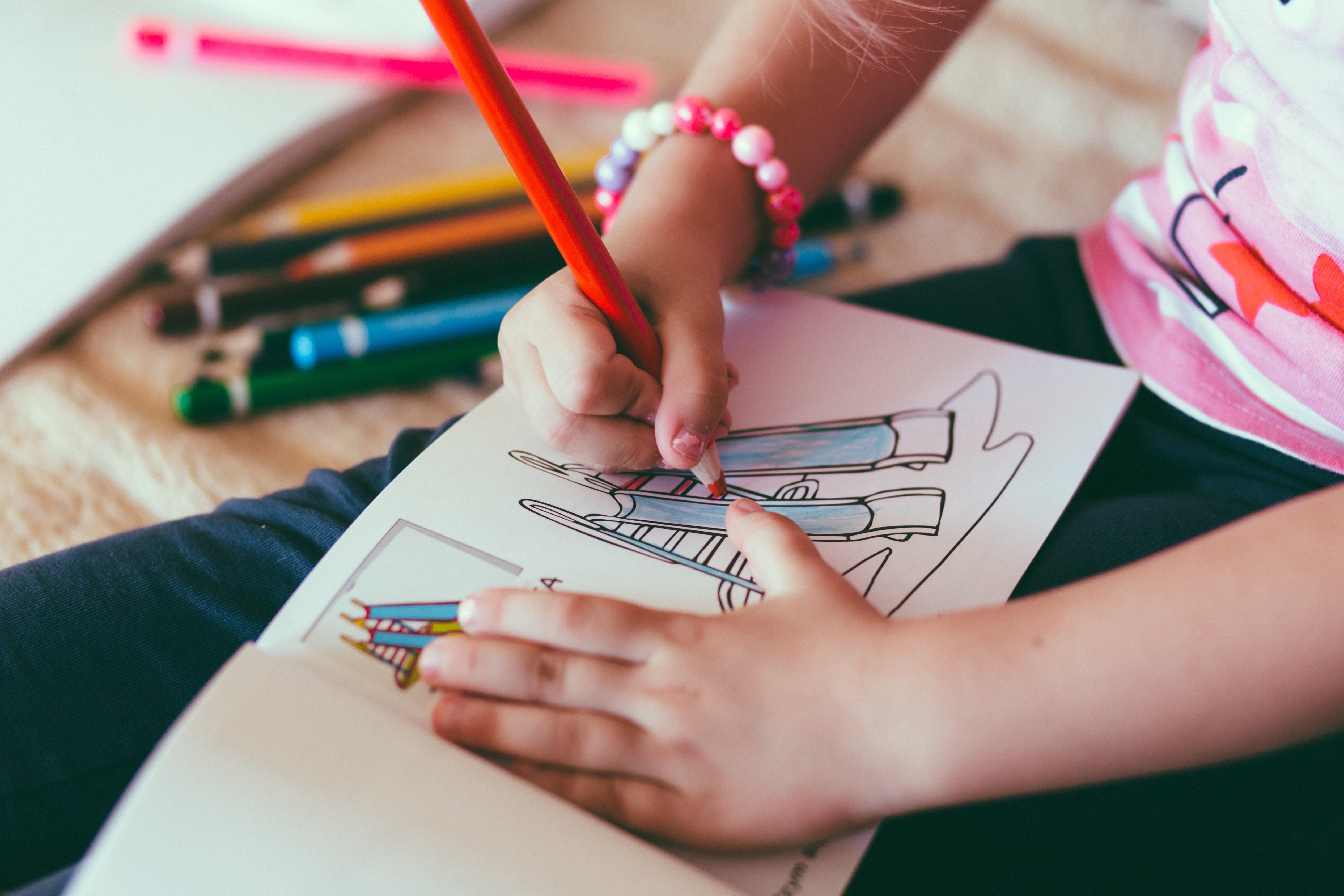 criança, desenho, educação