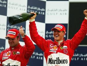 Michael Schumacher foi o primeiro vencedor do GP do Bahrein, em 2004, com Rubinho em segundo