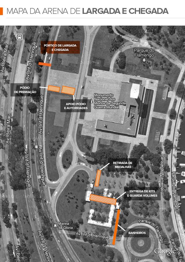 eutleta mapa largada e chegada (Foto: Editoria de Arte / GLOBOESPORTE.COM)