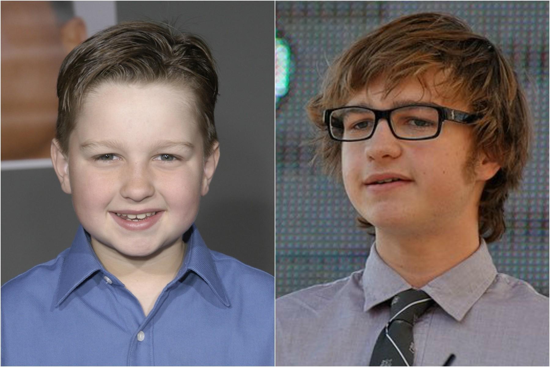 À esquerda, Angus T. Jones aos 9 anos, em 2003, primeiro ano da série 'Two and a Half Men'. À direita, o ator atualmente, com 20 anos de idade. (Foto: Getty Images)