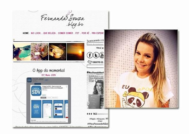 Fernanda Souza fez post em seu blog e no Instagram (Foto: Reprodução/Instagram)