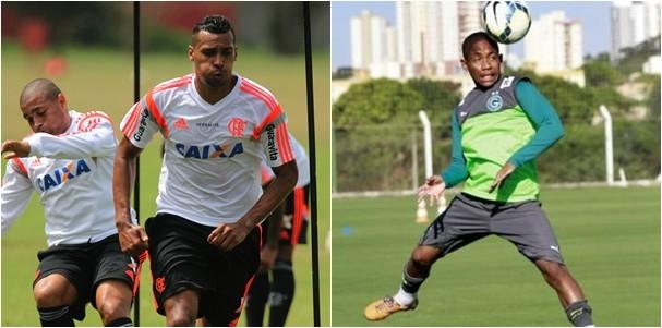 Equipes treinam para duelo na Arena Pantanal, nesta quarta (10). (Foto: Gilvan de Souza / Flamengo e Divulgação / Goiasec.com)