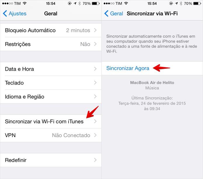 Sincronizando o iGadget por Wi-Fi (Foto: Reprodução/Helito Bijora)