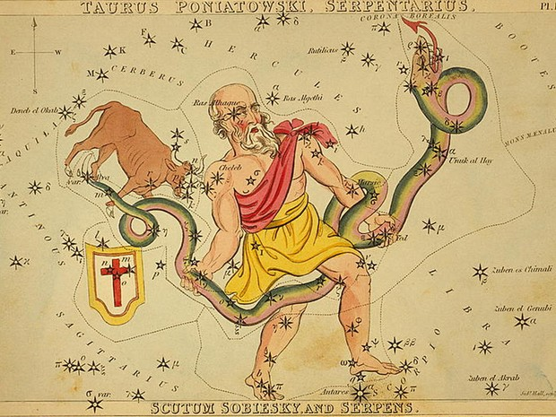 Constelação de Ofiúco em ilustração britânica do século XIX