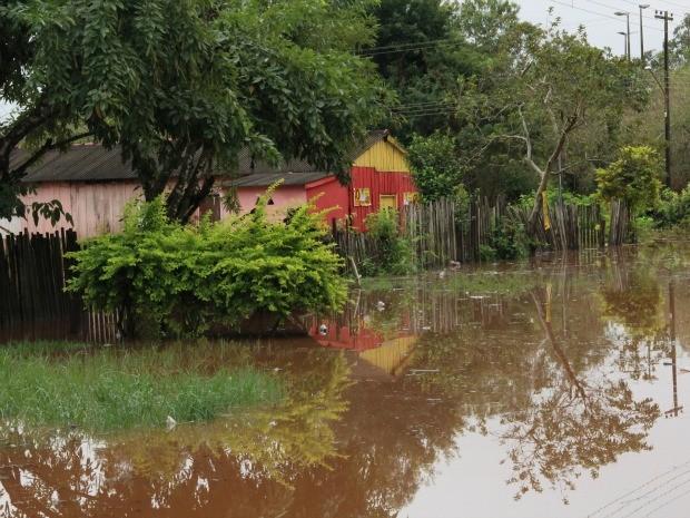 Cheia do ria Apa em Bela Vista MS (Foto: João Carlos Velásquez/Site  BelaVistaMS)