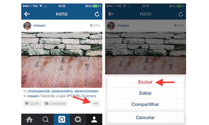 Iniciando a exclusão de uma foto do Instagram através do iPhone (Foto: Reprodução/Marvin Costa)