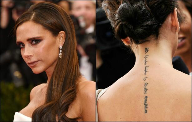 """Da nuca ao meio das costas, Victoria Beckham têm escrito em hebraico algo como """"Sou do meu amor e meu amor é meu, o que olha para os lírios"""". (Foto: Getty Images)"""