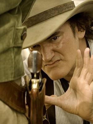 Quentin Tarantino no set de filmagens de 'Django livre' (Foto: Divulgação)