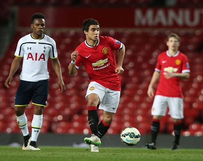 Falcao García e Rafael no time sub-21 do Manchester United (Foto: Divulgação)