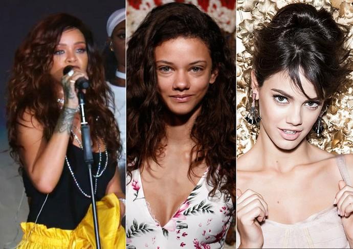 A atriz foi comparada a Rihanna, à esquerda, e Laura Neiva, à direita (Foto: Gshow; Inácio Moraes e Marcelo Correa/Gshow)