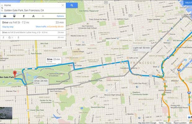 Google Maps passa a ressaltar vias necessárias para se chegar a um local, enquanto as outras ficam em segundo plano (Foto: Divulgação/Google)