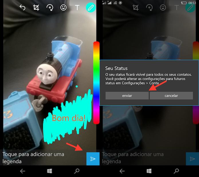Opção para publicar um status do WhatsApp no Windows Phone (Foto: Reprodução/Marvin Costa)