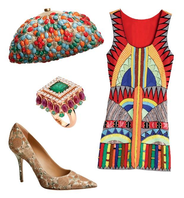 Vestido Pia Pauro para Mares R$ 4.390; Sapato Dior R$ 4.000; Anel Emar Batalha R$ 61.700 e Bolsa Rose Benedetti R$ 3.500 (Foto:   )
